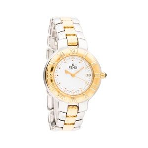 FENDI 900L 'Roma' Gold & Silver Chain Link Watch